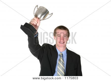 Business Man With Trophy