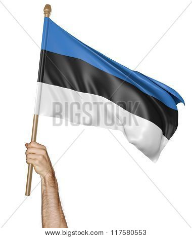 Hand proudly waving the national flag of Estonia