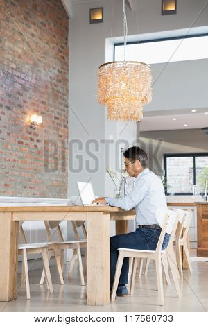 Serious man using laptop in sitting room