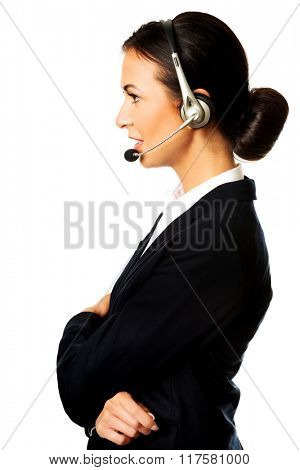Woman phone operator in headset
