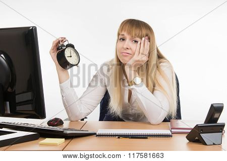 Dull Office Employee Does Not Want To Work In The Morning In The Office