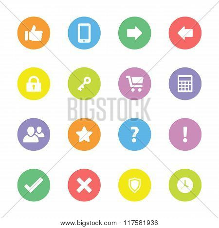 Colorful simple flat icon set 3 on circle