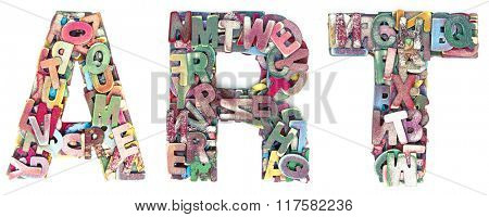 the word Art madt from lots of small wooden letters