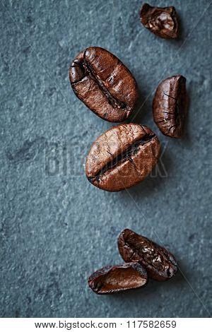 Dark coffee beans (close up)