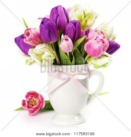 Beautiful tulips bouquet   - spring, easter or gardening concept