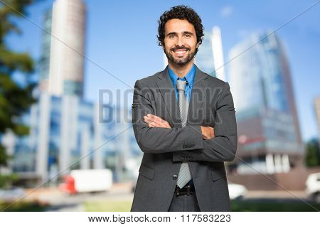 Smiling male manager outdoor
