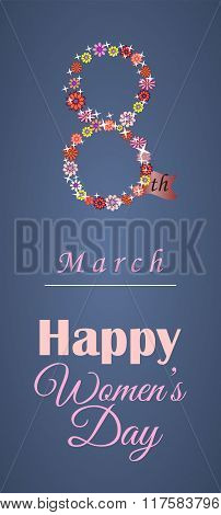 Greeting Card Or Banner For 8 March. Happy Women's Day