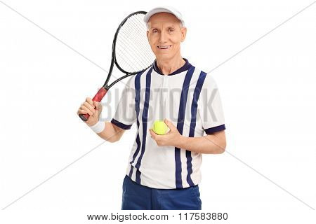 Studio shot of a senior tennis player holding a racquet and a ball isolated on white background