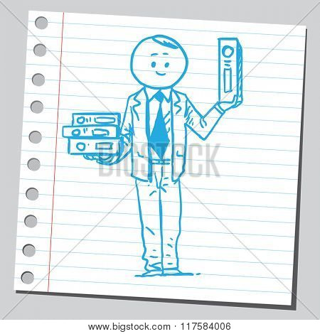 Businessman with binders