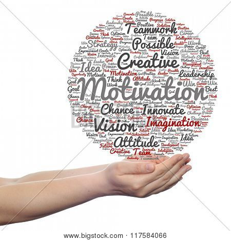 Concept or conceptual abstract creative business word cloud in hand isolated on white background