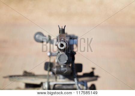 Automatic Machine Gun Directed Toward.
