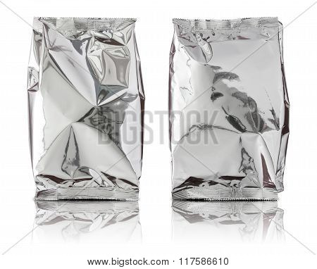 Set Of Foil Package Bag Isolated On White Background
