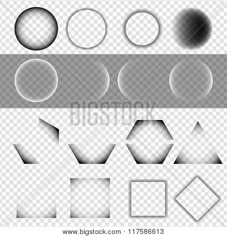 Set of Basic Geometric Shapes with Shadow on Isolated Background - EPS10 Vector Illustration