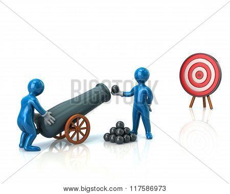 Blue Men Load Cannon