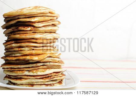 High Stack Of Pancakes . Breakfast For The Whole Family . With Copy Space