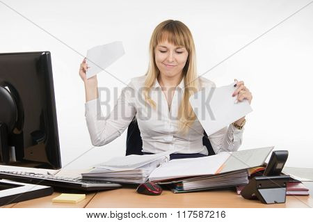 Business Woman Torn Paper Document