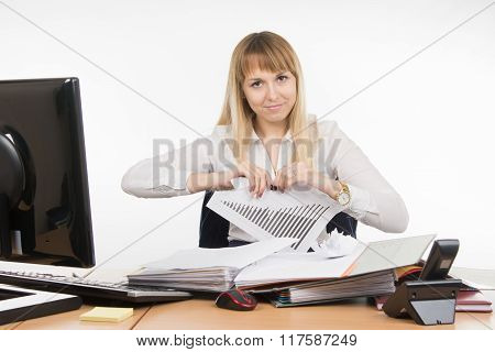 Business Woman Tearing Paper With The Schedule
