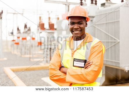 handsome senior african technician in substation