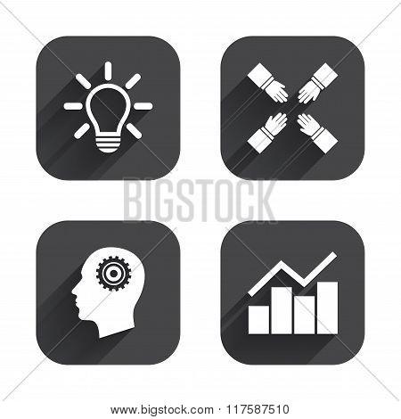 Lamp idea. Graph chart diagram. Head with gear.
