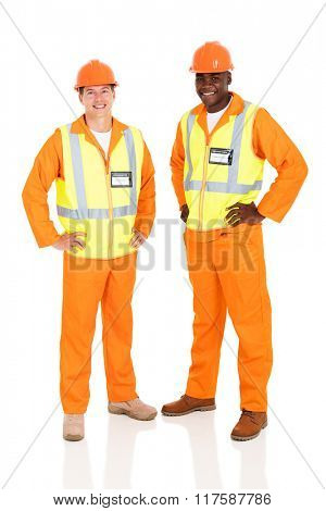 portrait of happy electrical engineers standing on white background