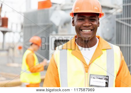 close up portrait of senior african american technician in substation