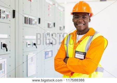 handsome senior african american technician in control room