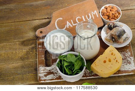 Food Sources Of Calcium. Healthy And Diet Eating