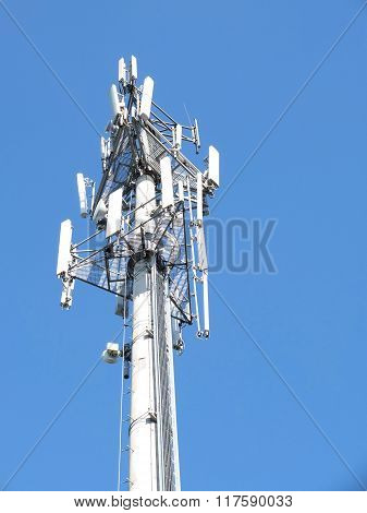 Telecommunications Cell Phone Tower With Antennas