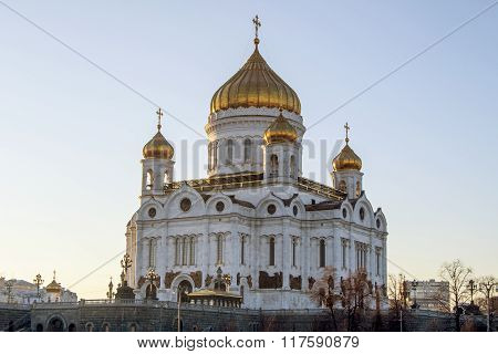 Cathedral of Christ the Saviour in Moscow, Russia. Winter sunset.