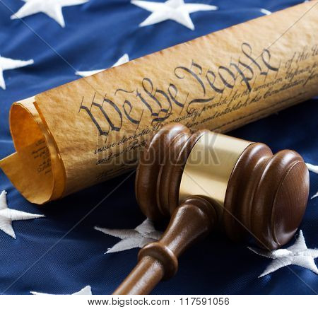 Gavel, Constitution of the United States and American Flag