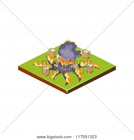 Meteorite. Natural Disaster Icon. Vector Illustration
