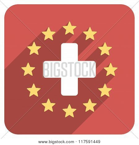 Best Medicine Flat Rounded Square Icon with Long Shadow