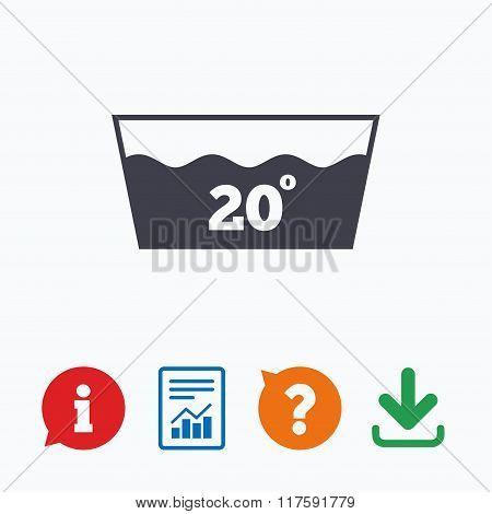 Wash icon. Machine washable at 20 degrees symbol