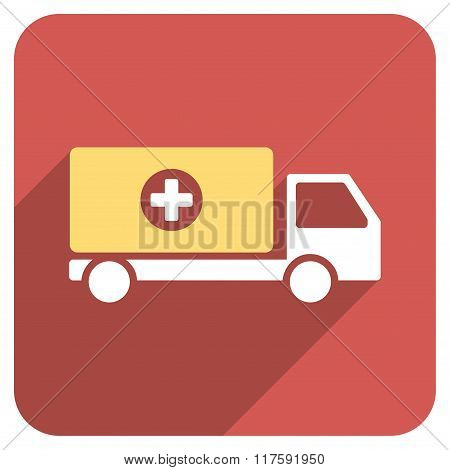 Drugs Shipment Flat Rounded Square Icon with Long Shadow