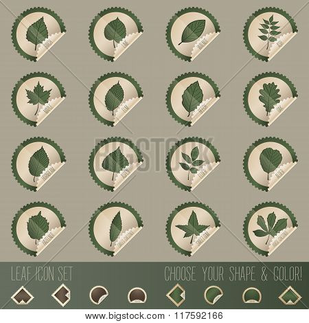 Deciduous Tree Leaf Icon Set In Stamp Shape