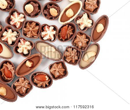 Chocolate sweets isolated on white