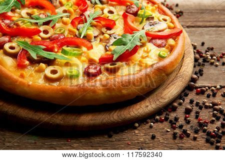 Delicious pizza with vegetables, close-up