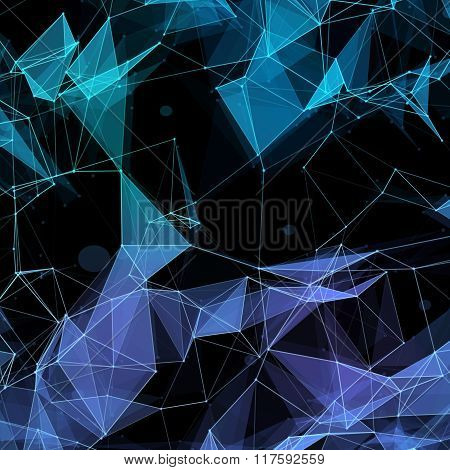 Virtual technology background with lines and grids points