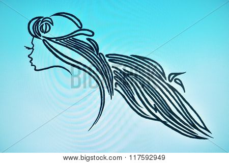 Logo of beauty saloon or hairdressing spa saloon Silhouette profile of young woman or girl with long hairs Web design Web icon Logo for shampoo