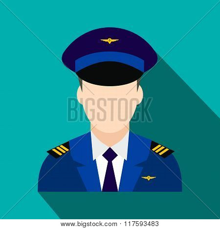 Captain of the aircraft flat icon