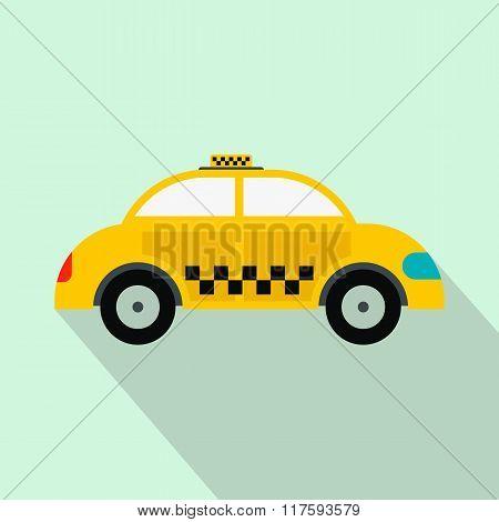Yellow taxi flat icon