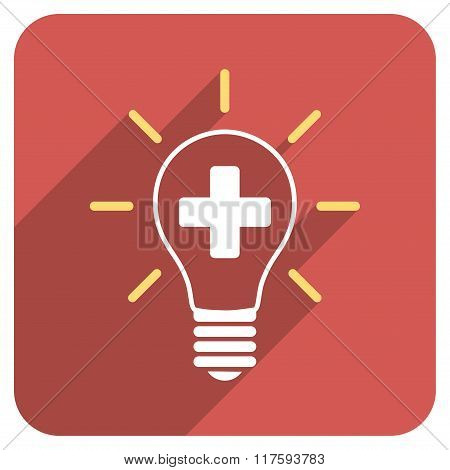 Creative Medicine Bulb Flat Rounded Square Icon with Long Shadow