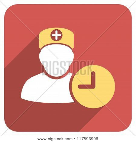 Doctor Hours Flat Rounded Square Icon with Long Shadow
