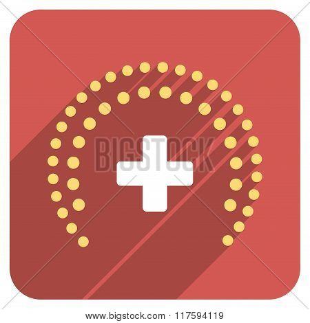Dotted Health Care Protection Flat Rounded Square Icon with Long Shadow