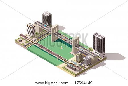 Isometric city map with river and bridges