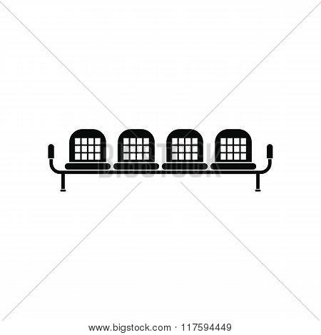 Airport seats black simple icon