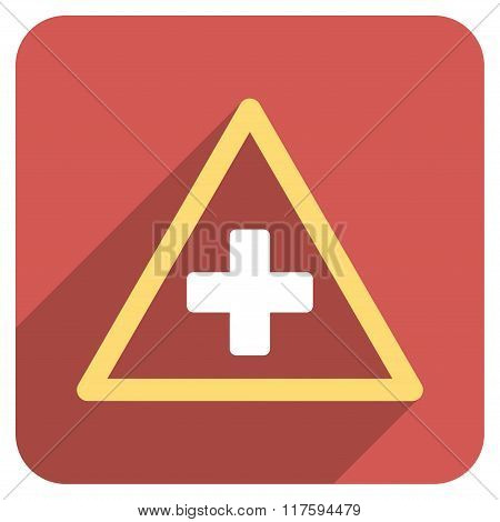 Health Warning Triangle Flat Rounded Square Icon with Long Shadow