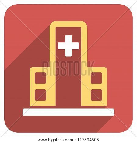Hospital Building Flat Rounded Square Icon with Long Shadow