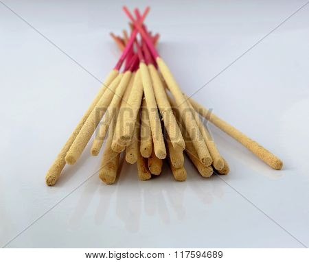 bundle of incense sticks use for pray the buddha