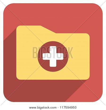Medical Folder Flat Rounded Square Icon with Long Shadow